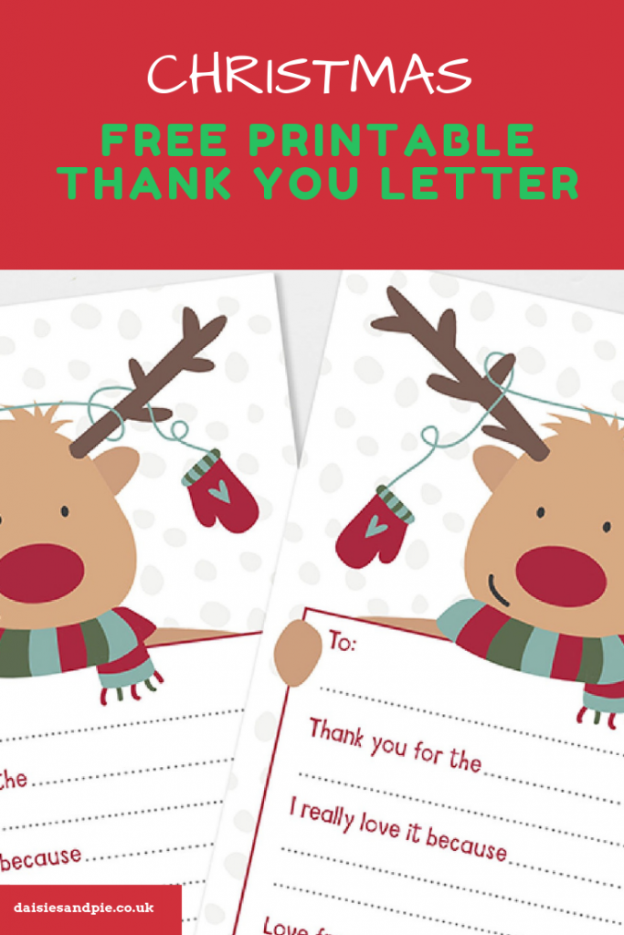 "printable reindeer thank you letter. Text overlay saying ""christmas kids crafts - free printable thank you letter"""