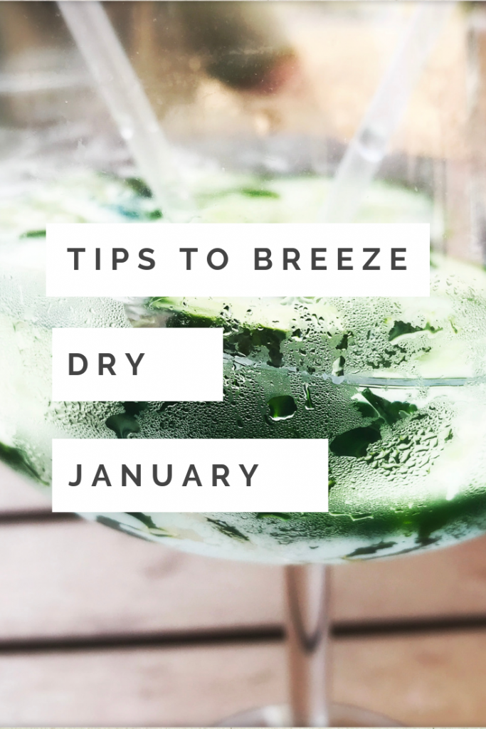 "glass of gin and tonic with cucumber in it. Text overlay saying ""tips to breeze dry january"""