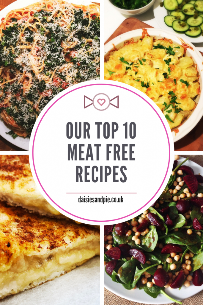 "4 images - spaghetti with cavolo nero, cheesy vegetable hotpot, banana cinnamon french toast, beetroot salad. Text overlay saying ""our top 10 meat free recipes"""