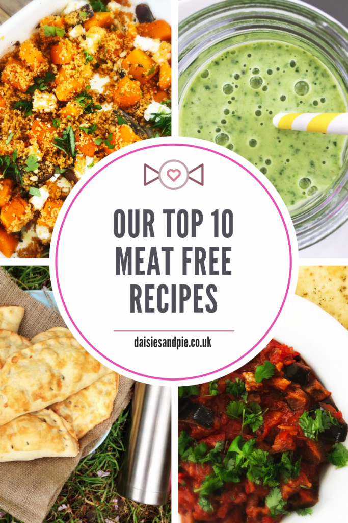 "4 images - roast squash and feta couscous, spinach smoothie, vegetable pasties, tomato and aubergine stew. Text overlay saying ""our top 10 meat free recipes"""