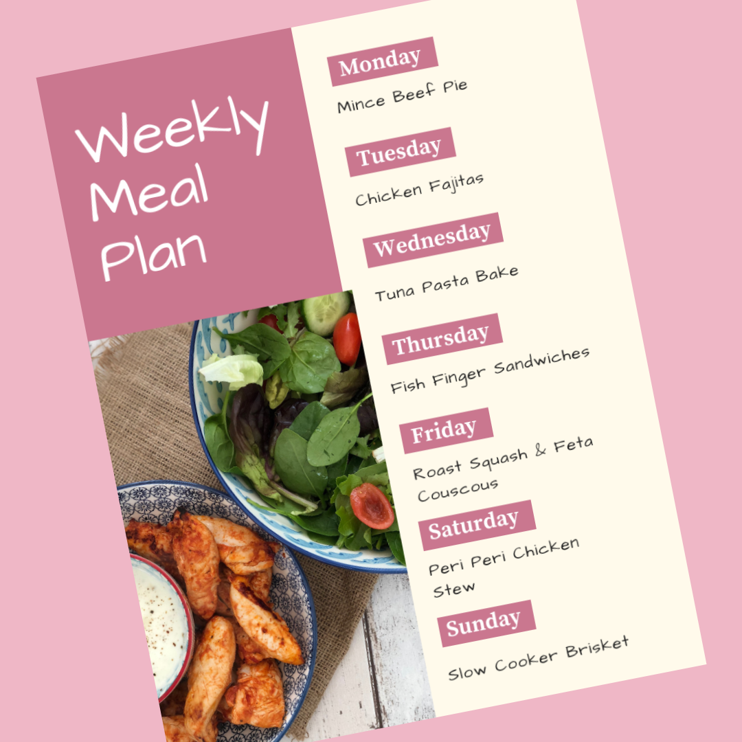 weekly family meal plan - Monday - mince beef pie, Tuesday - chicken fajitas, Wednesday - tuna pasta bake, thursday - fish finger sandwiches, Friday - roast squash and feta couscous, Saturday - peri peri chicken stew, Sunday - slow cooker brisket