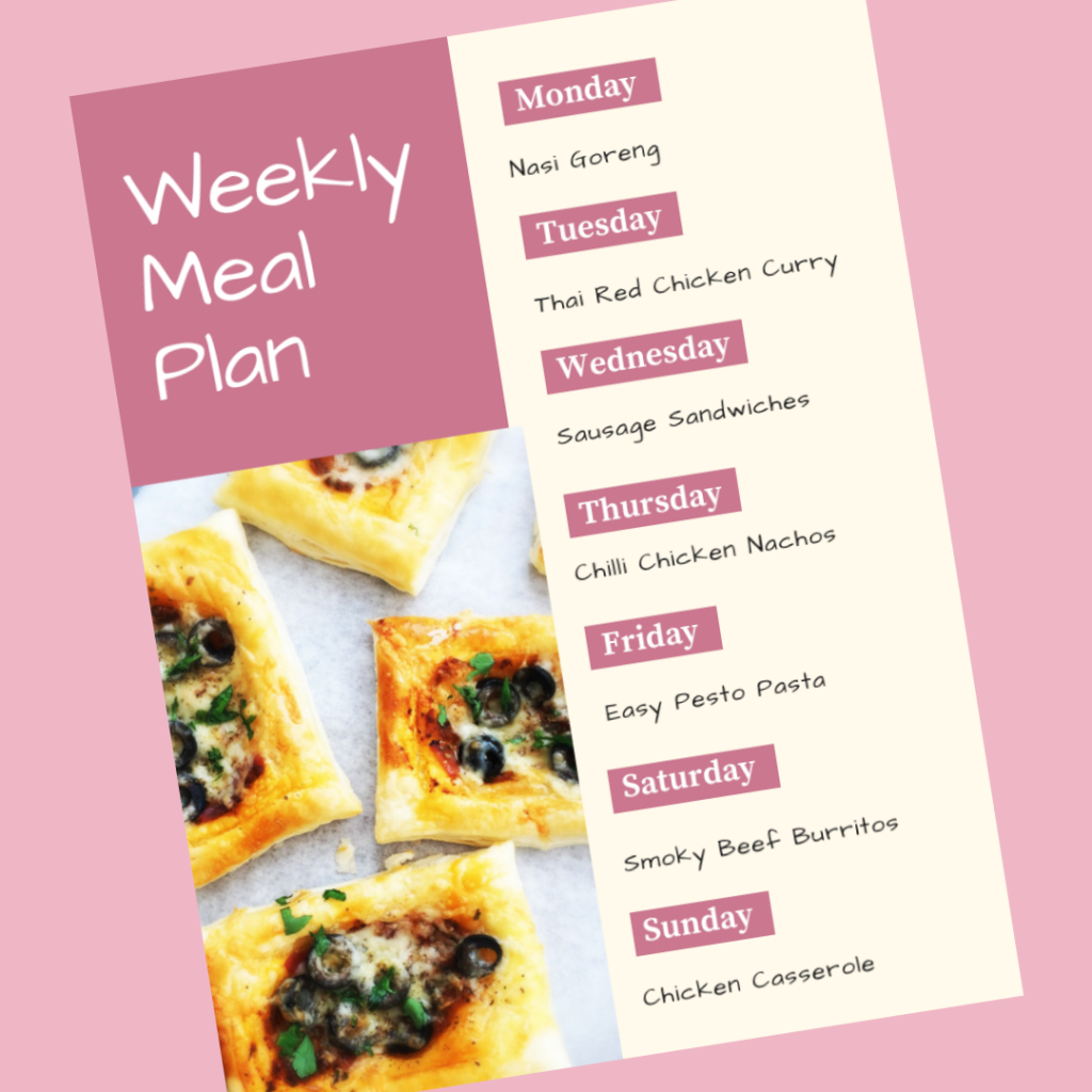 Weekly Meal Plan – 18th March 2019