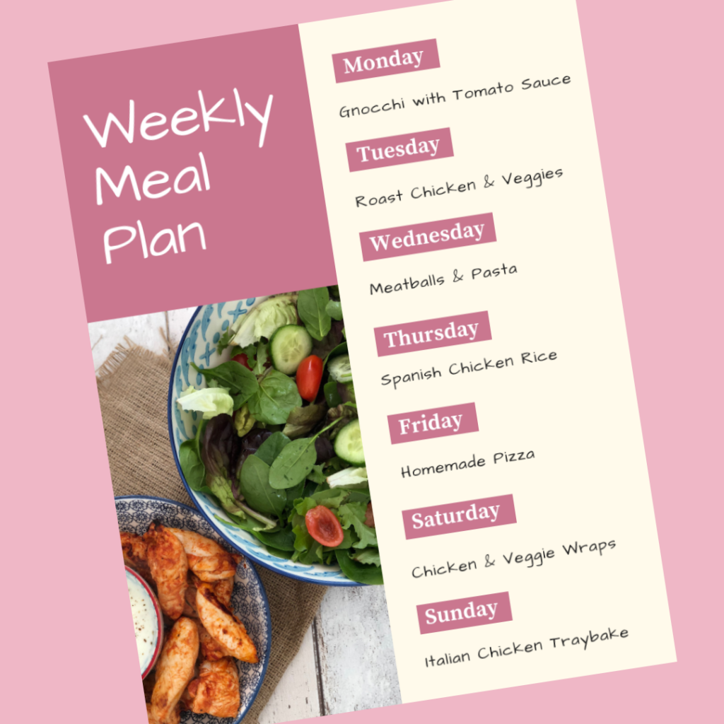 Weekly family meal plan - Monday - gnocchi with tomato sauce, Tuesday - roast chicken and veggies, Wednesday - meatballs and pasta, Thursday - spanish chicken rice, Friday - homemade pizza, Saturday - chicken and veggie wraps, Sunday - italian chicken traybake