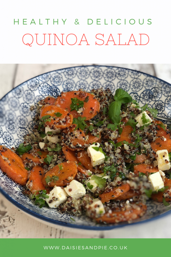 "quinoa salad with roast carrots, feta cheese and herbs in a blue and white bowl. Text overlay saying "" healthy and delicious quinoa salad"""