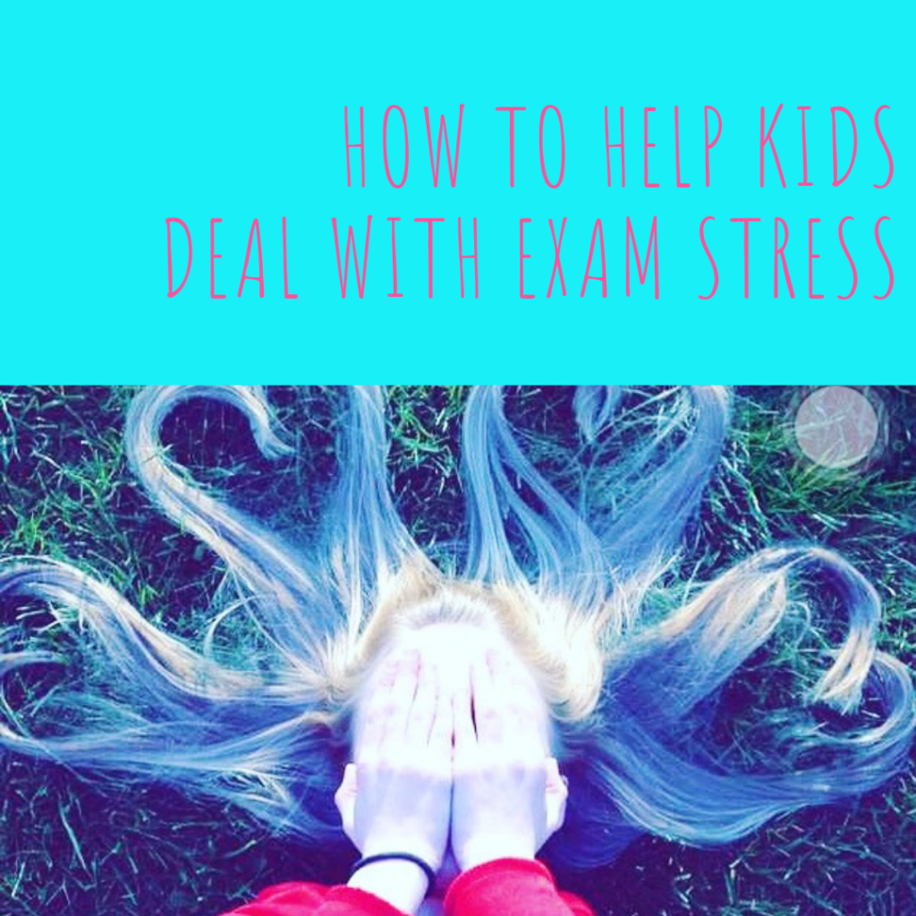 "girl lying on grass with hair arranged in love heart shapes her face covered with her hands. Text overlay saying ""how to help kids deal with exam stress"""