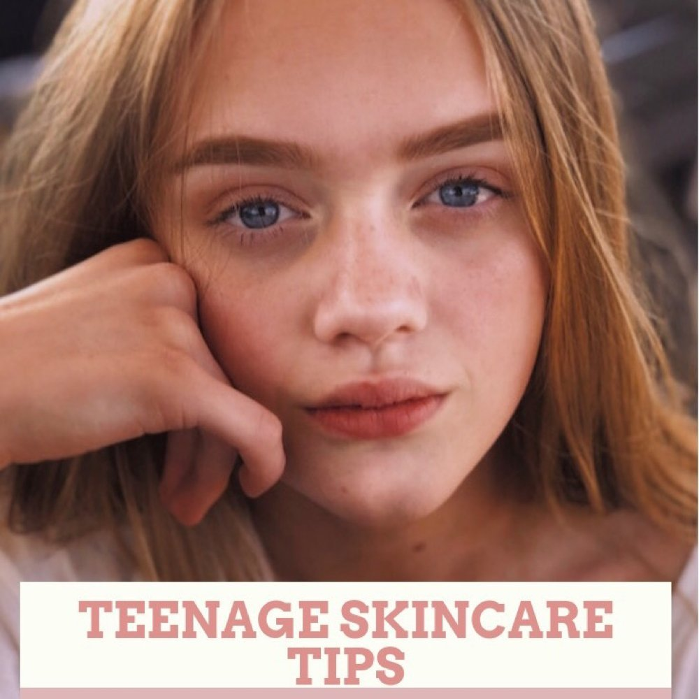 "teenage girl with clear skin. Text overlay saying ""teenage skin care tips I swear by"""