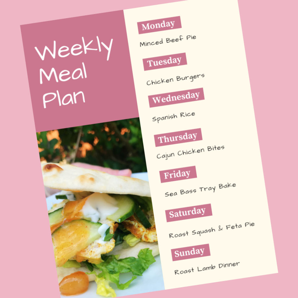 weekly meal plan - Monday - minced beef pie, Tuesday - chicken burgers, Wednesday - spanish rice, Thursday - cajun chicken bites, Friday - sea bass tray bake, Saturday - roast squash pie, Sunday - roast lamb dinner