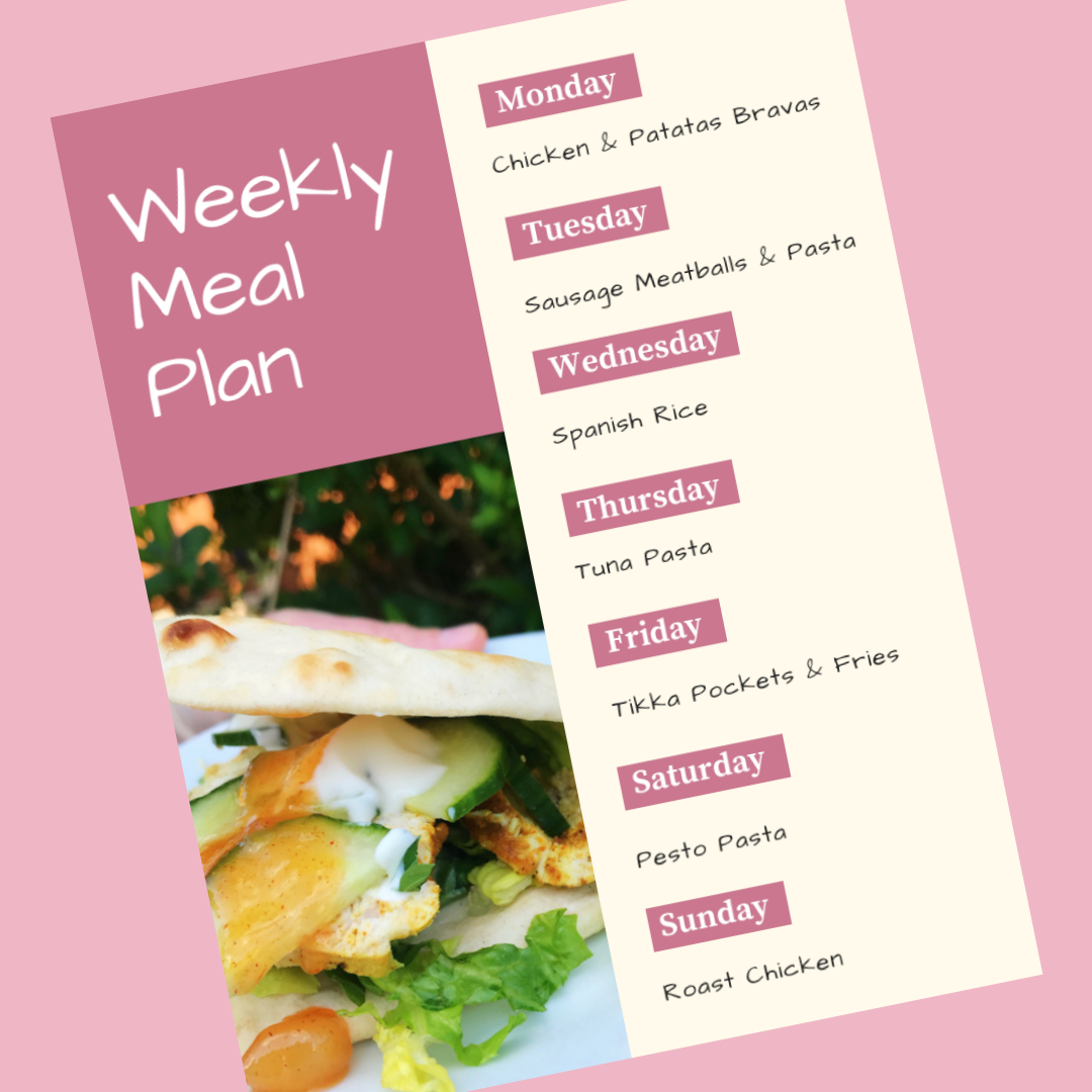 weekly family meal plan - Monday - chicken and patatas bravas, Tuesday - sausage meatballs and pasta, wednesday - spanish rice, Thursday - tuna pasta, Friday - tikka pockets and fries, Saturday - pesto pasta, Sunday - roast chicken
