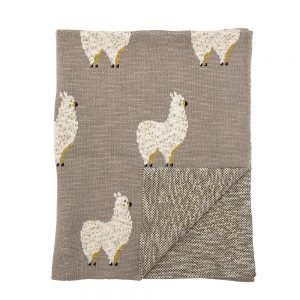 llama knitted throw in soft grey and white from beaumonde