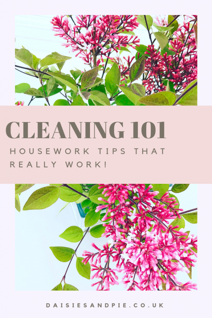 "Vase of lilacs. Text ""Cleaning 101 housework tips that really work"""