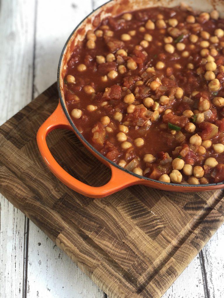 Homemade vegan chickpea curry