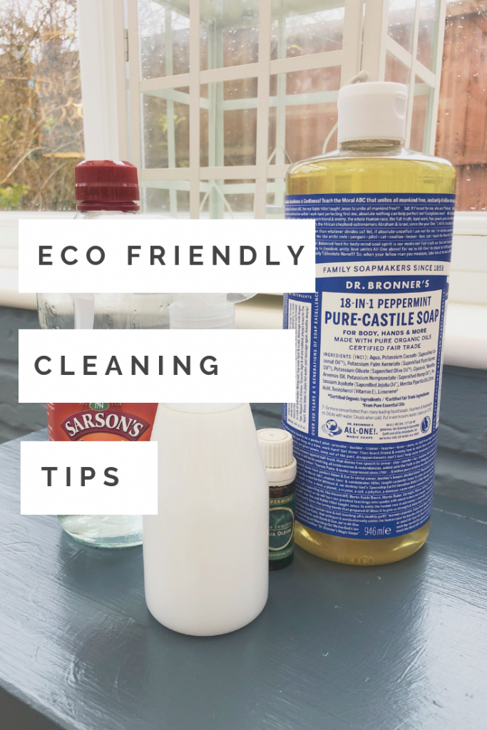 "pure castile soap, white vinegar and tea tree oil. Text overlay saying ""eco friendly cleaning tips"""