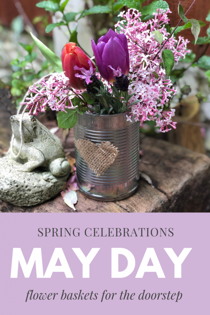 "DIY tin can May Day flower basket with string handle - Text overlay saying ""spring celebrations May Day Flower Baskets for the Doorstep"""
