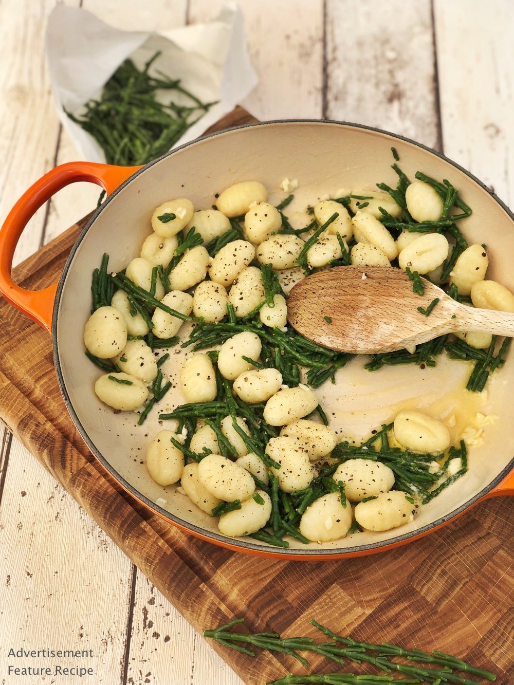 Recipe for Samphire with Gnocchi and Garlic Butter