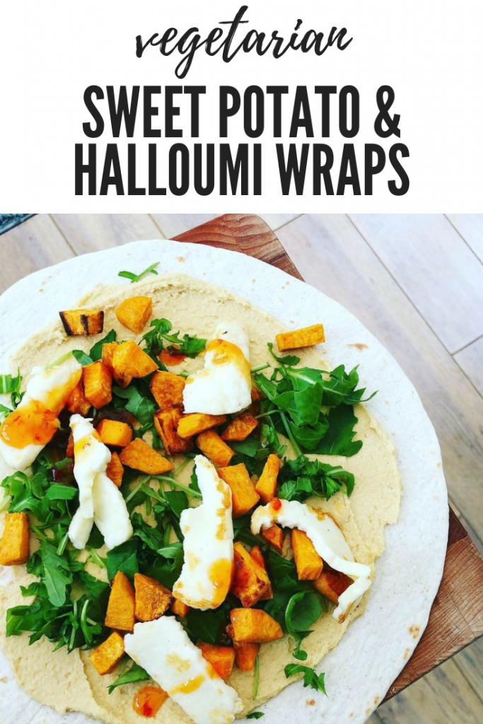 "tortilla wrap loaded with salad, sweet potato and halloumi. Text overlay ""vegetarian wraps - sweet potato and halloumi"""