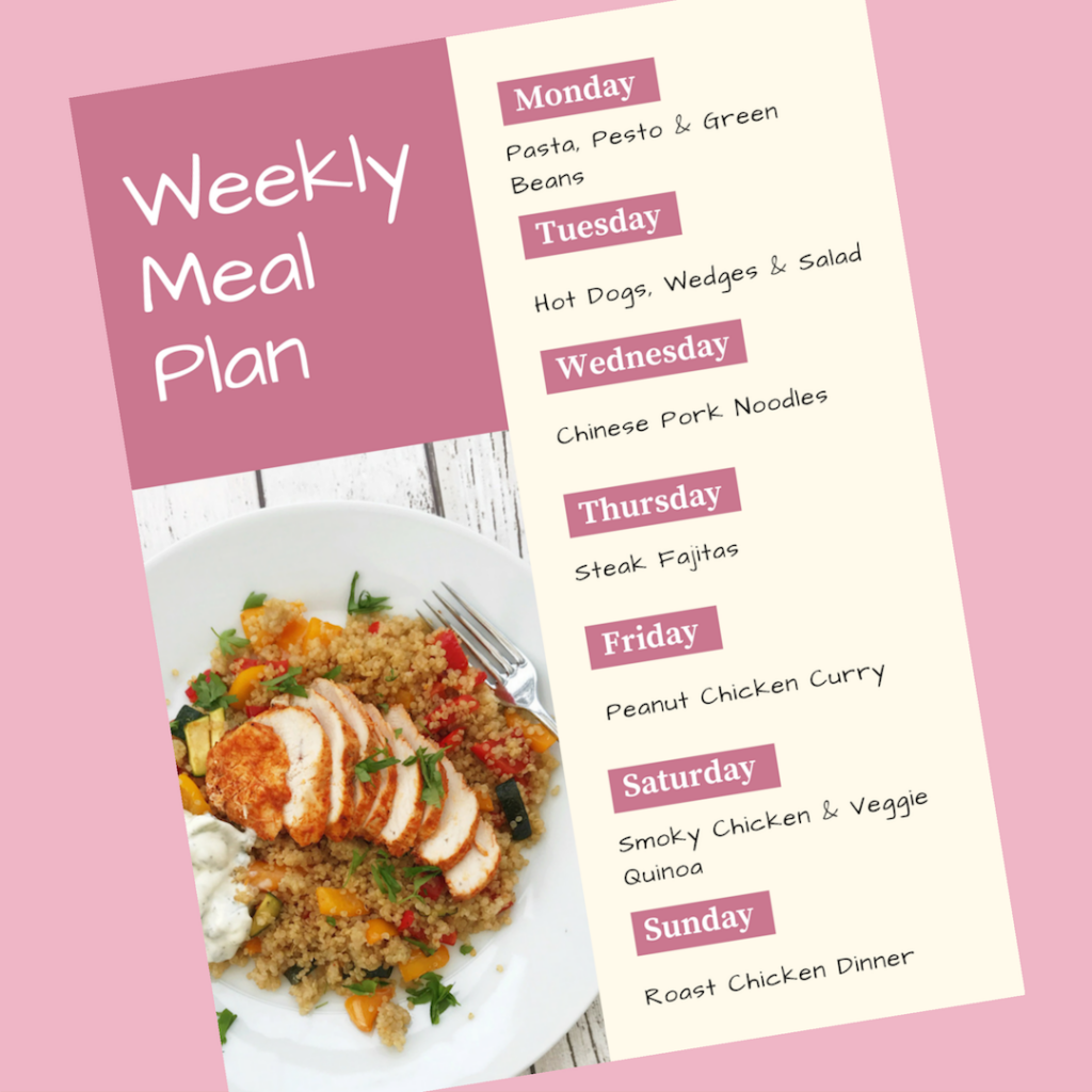Weekly Meal Plan - Monday - pasta, pesto and green beans, Tuesday - hot dogs, wedges and salad, Wednesday - Chinese pork noodles, Thursday - steak fajitas, Friday - Peanut chicken curry, Saturday - smoky chicken with vegetable quinoa, Sunday - roast chicken dinner