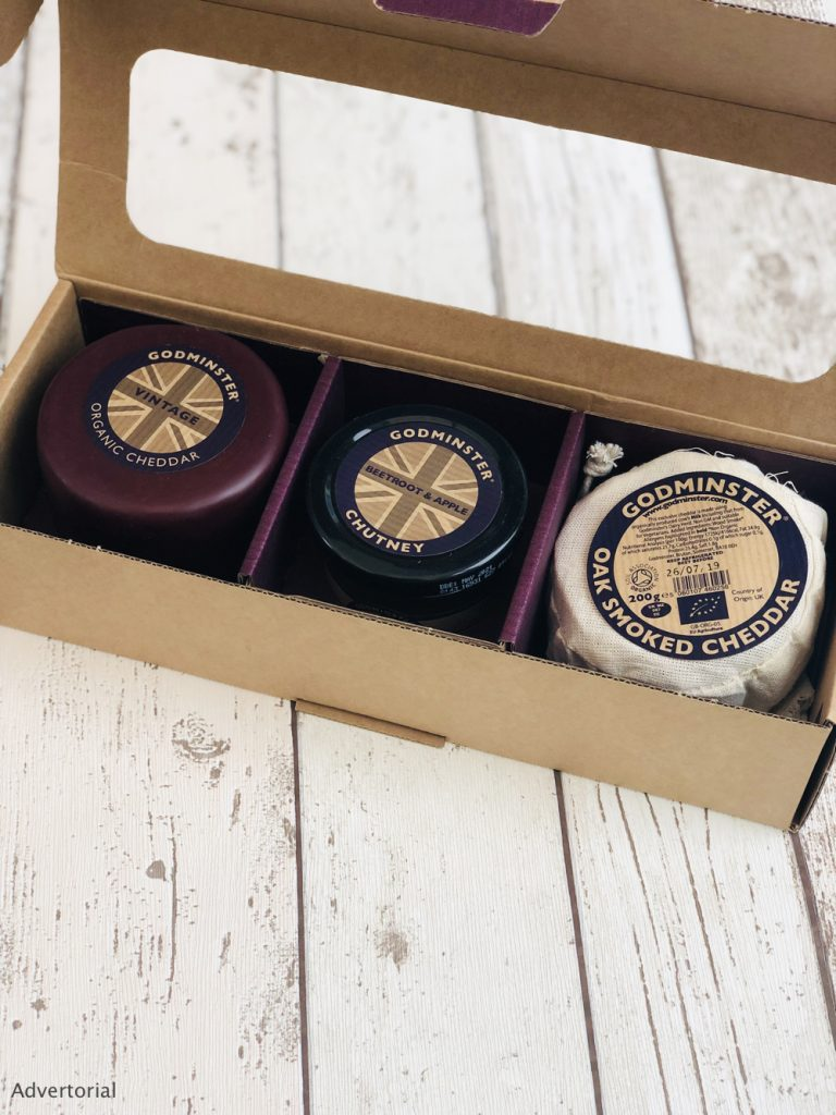 godminster cheese gift set with organic cheddar, oak smoked cheddar and beetroot and apple chutney