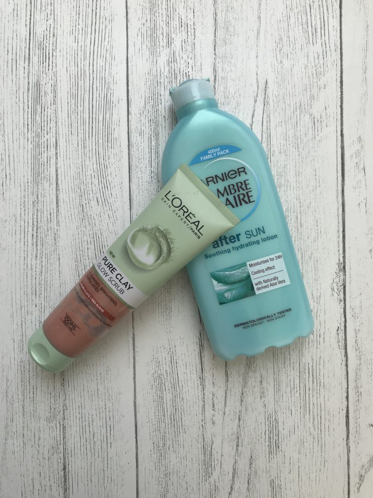 L'Oreal pure clay glow scrub and Ambre solaire after sun cream