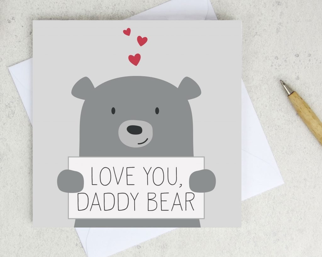 father's day card with love you dadd bear written on a card being held by a bear