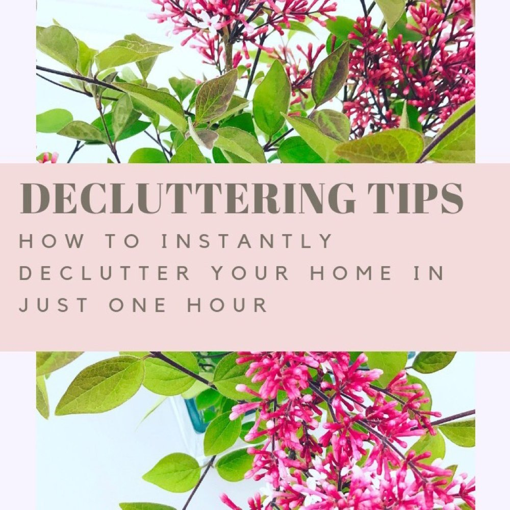 "simple vase of lilacs - text overlay ""decluttering tips - how to instantly declutter your home in just one hour"""