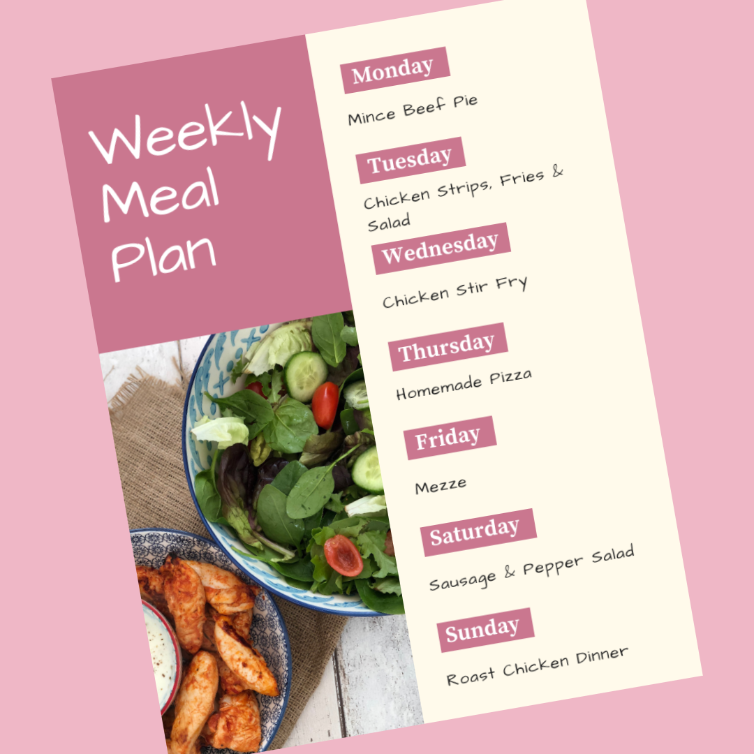 weekly family meal plan - Monday - mince been pie, Tuesday - chicken strips and fries, wednesday - chicken stir fry, thursday - homemade pizza, friday - mezze, saturday - sausage and pepper salad, sunday - roast chicken dinner