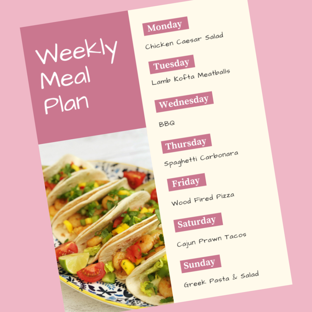 weekly meal plan - Monday - chicken caesar salad, Tuesday - lamb kofta meatballs, Wednesday - BBQ, Thursday - spaghetti carbonara, Friday - wood fired pizza, Saturday - cajun prawn tacos, Sunday - greek pasta