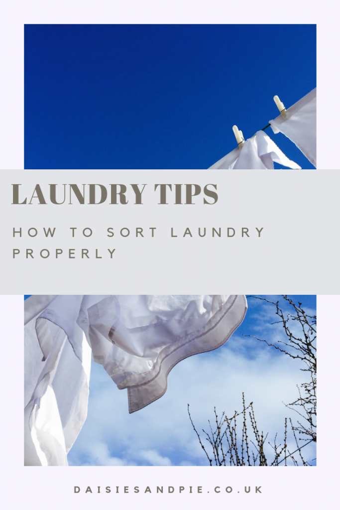 "white laundry drying on a washing line against a blue sky. Text overlay ""laundry tips - how to sort laundry properly"""