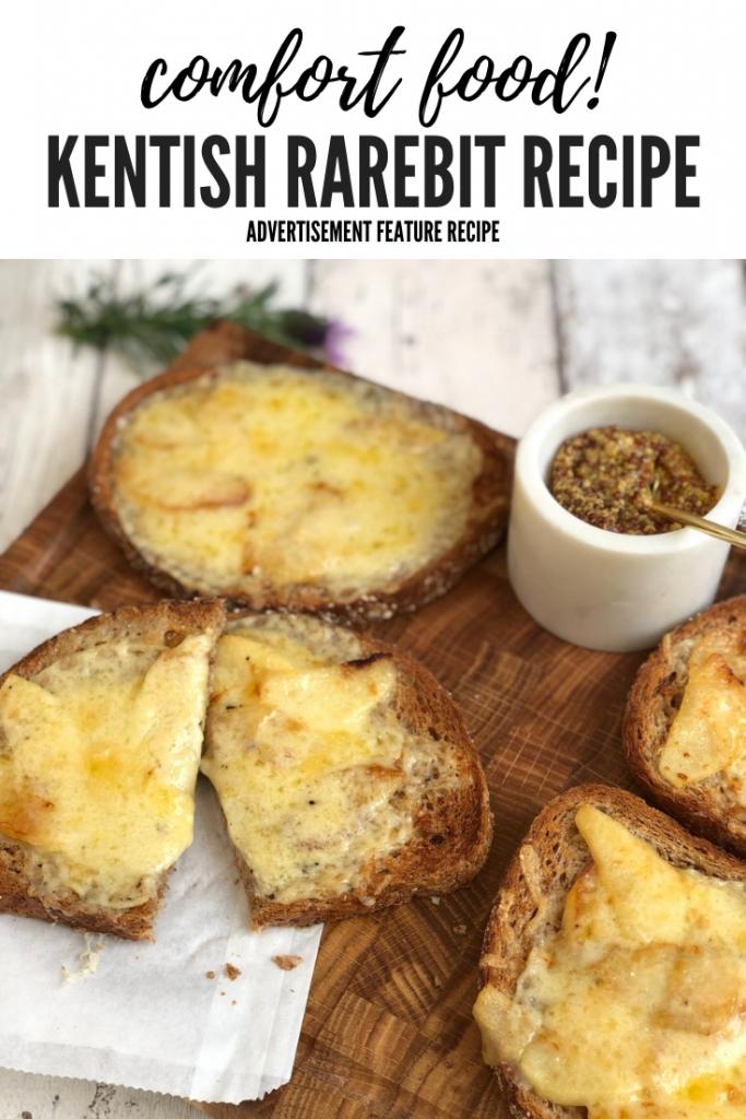 "Kentish rarebit served with wholegrain mustard on a wooden platter. Text overlay ""comfort food Kentish rarebit recipe"""