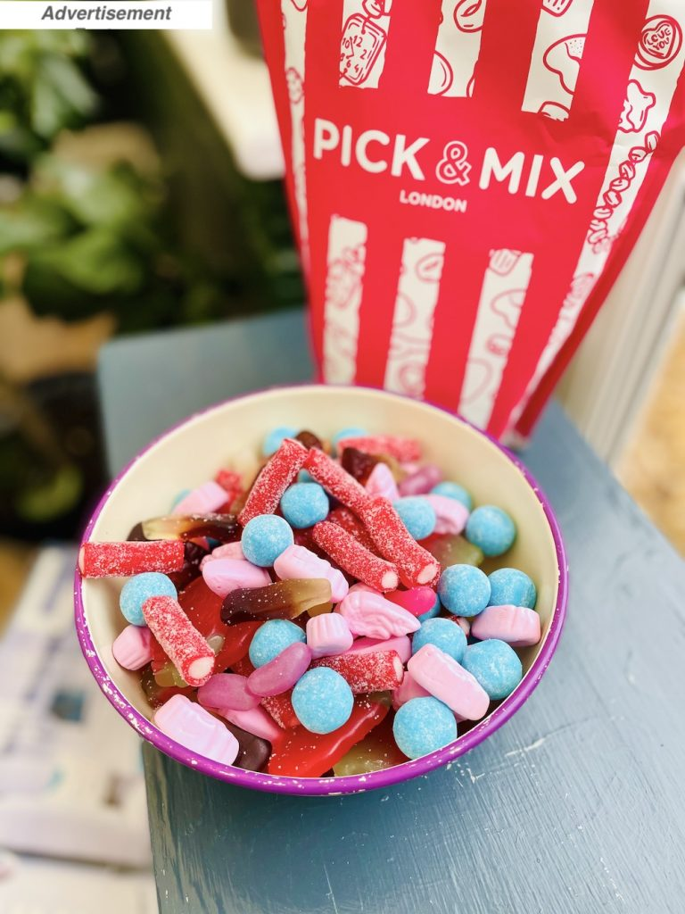 Father's Day gift ideas - Pick & Mix London bag of sweets with some tipped into the metal bowl infont of the bag