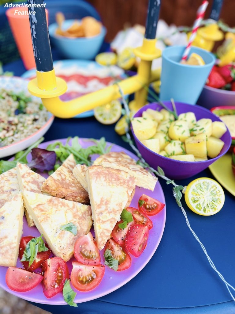 picnic food ideas - platter of tortilla wedges with tomatoes