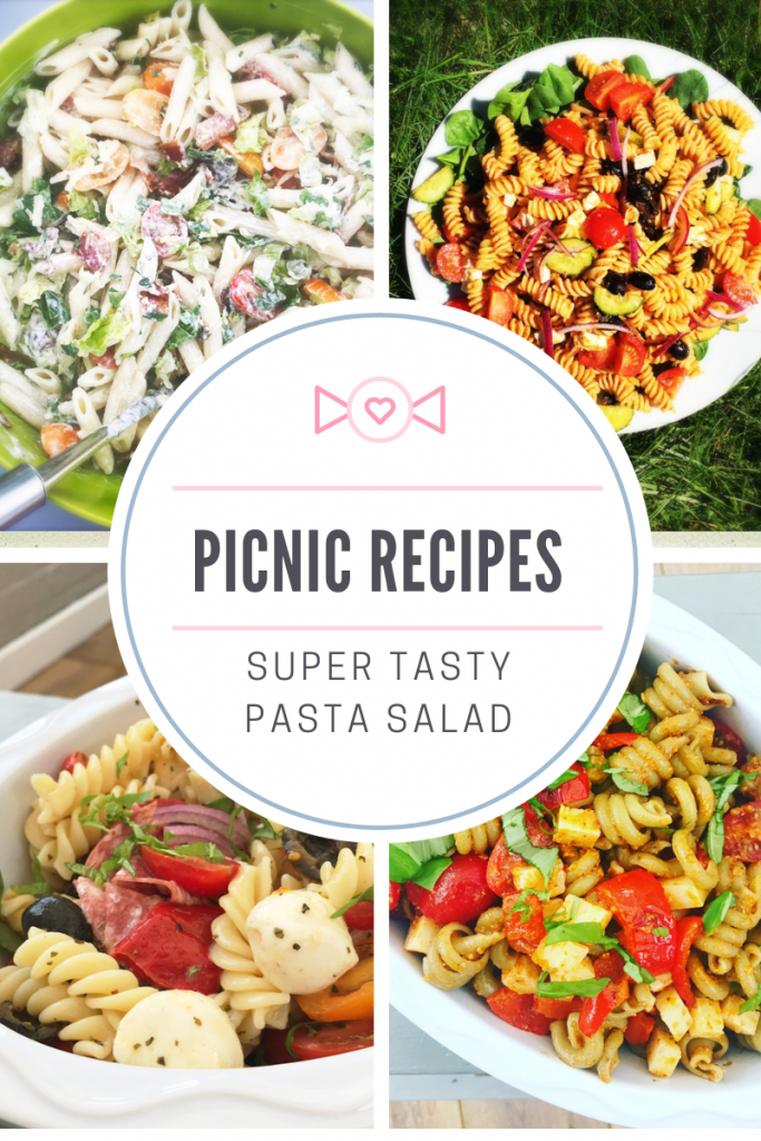 "picnic food - BLT pasta salad, Greek pasta salad, Italian pasta salad, Spanish pasta salad. Text overlay ""picnic recipes - super tasty pasta salad"""