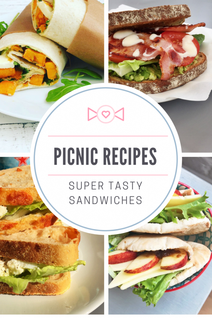 "picnic sandwiches - sweet potato and halloumi wrap, ultimate BLT, best egg salad sandwich, cheddar and apple pitta. Text overlay ""picnic recipes - super tasty sandwiches"""