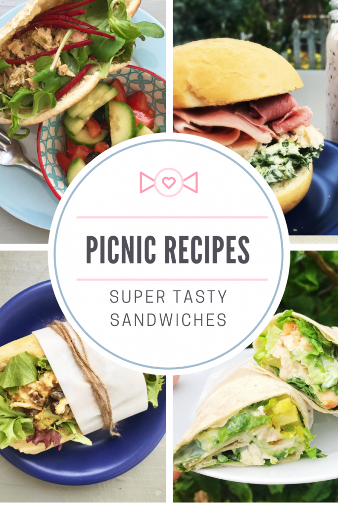 "picnic sandwiches - tuna pitta, ham and spinach roll, coronation chicken baguette, chicken and tzatziki wrap. text overlay "" picnic recipes - super tasty sandwiches"""