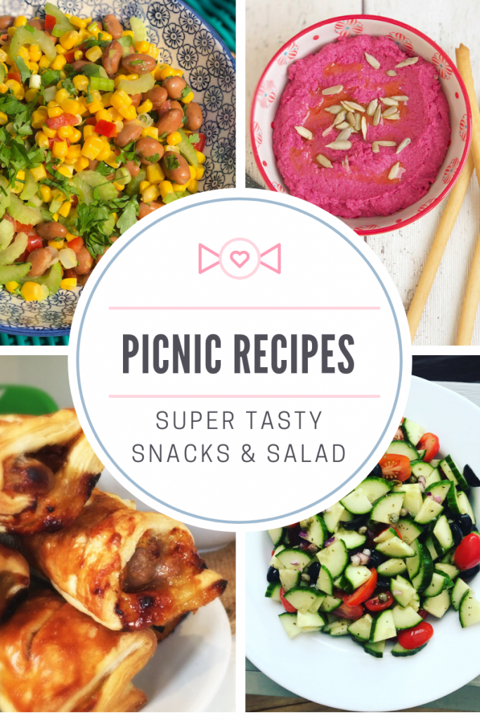 "picnic recipes - bean salad, beetroot hummus, posh sausage rolls, cucumber sallad. Text overlay ""picnic recipes super tasty snacks and salad"""