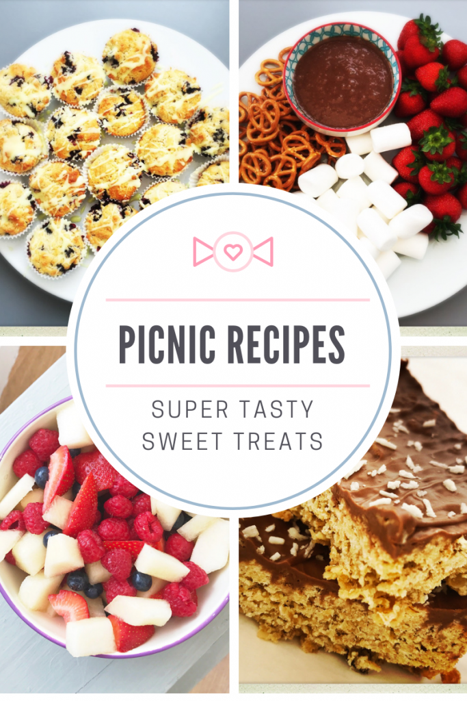 "picnic recipes - blueberry muffins, mars bar dip platter, melon and berry salad, chocolate coconut flapjack - Text overlay ""picnic recipes - super tasty sweet treats"""