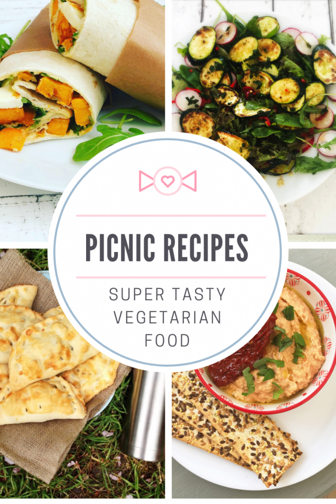 "vegetarian picnic food - sweet potato halloumi wrap, courgette and radish salad, vegetable pasties, sun dried tomato hummus. Text overlay ""picnic recipes - super tasty vegetarian food"""