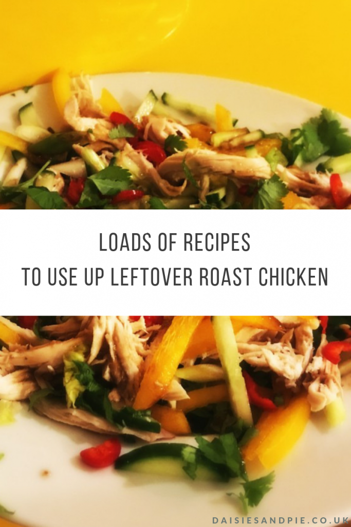 "chicken salad made with leftover roast chicken. Text overlay ""loads of recipes to use up leftover roast chicken"""