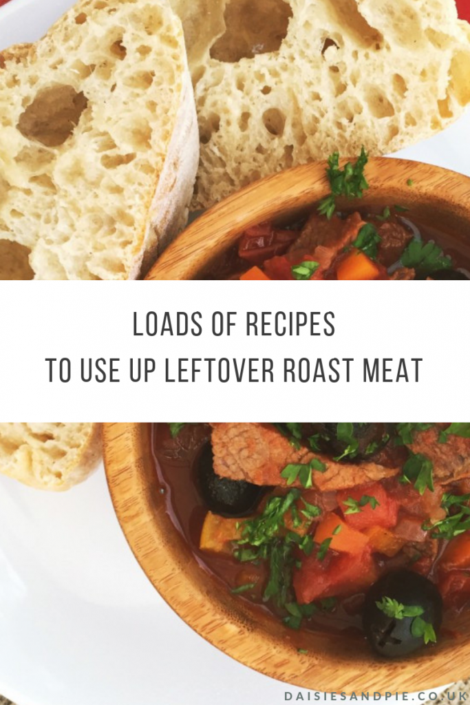 "bowlful of leftover roast beef italian stew. Text overlay ""loads of recipes to use up leftover roast meat"""