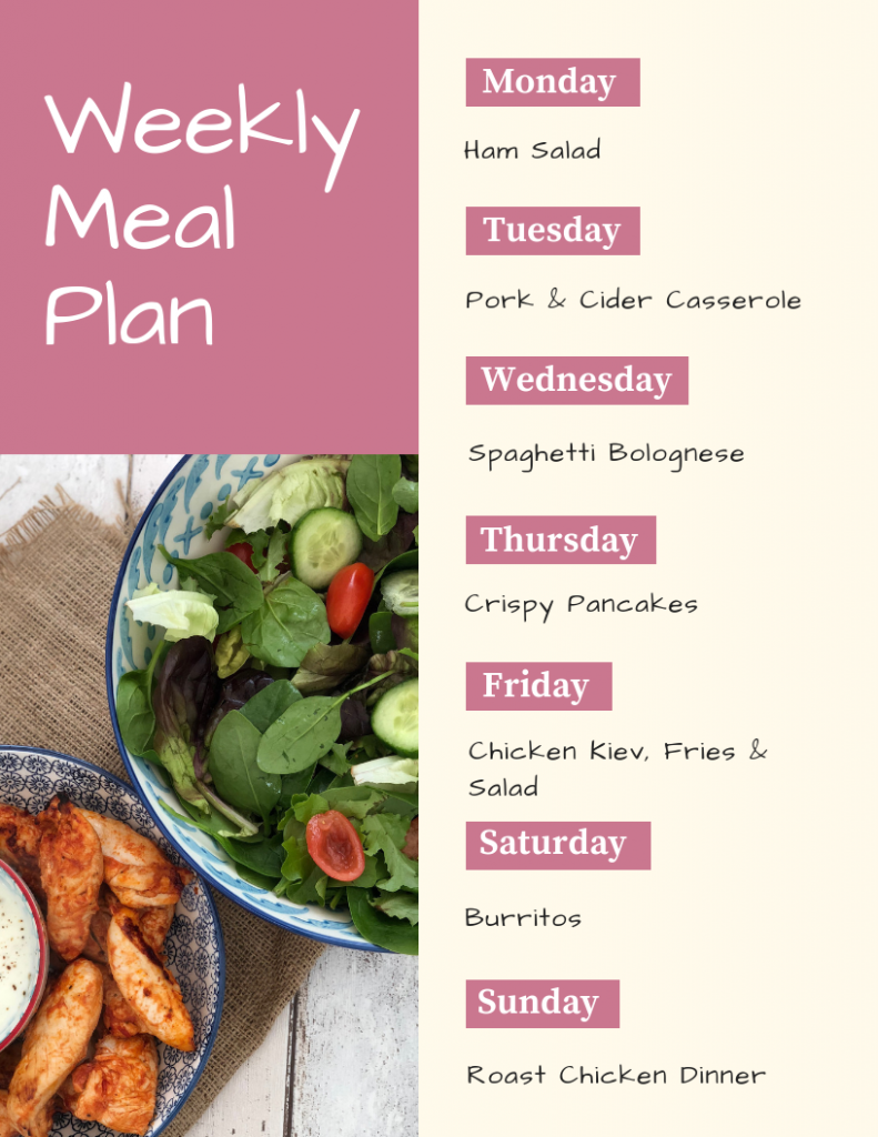 Weekly Family Meal Plan 8th June 8   Daisies & Pie