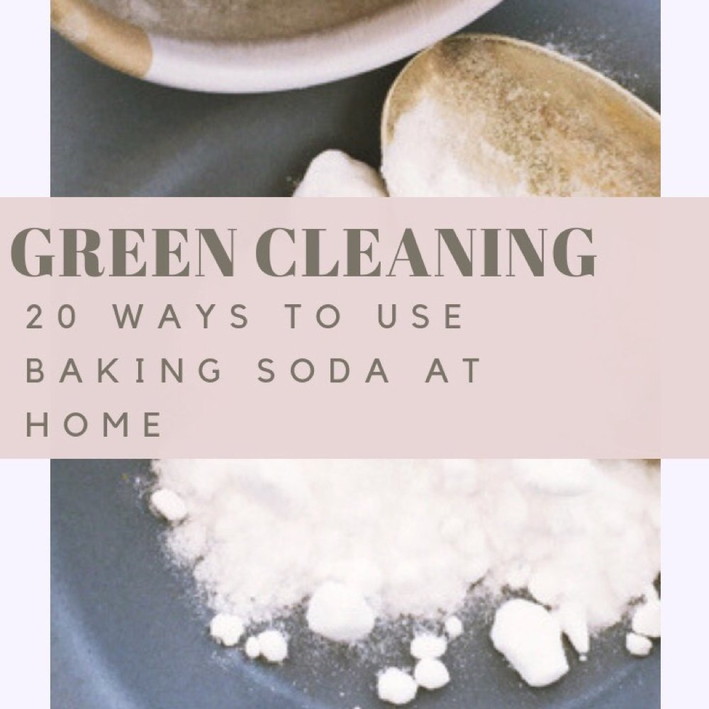 "Baking Soda for Cleaning - Text ""green cleaning - 20 ways to use baking soda at home"""