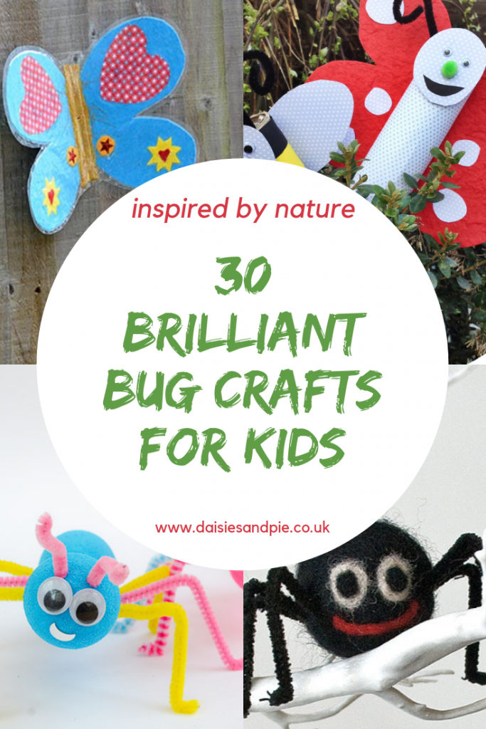 "kids bug and insect crafts - butteries,  spiders and super cute ant craft. Text ""30 brilliant bug crafts for kids"""