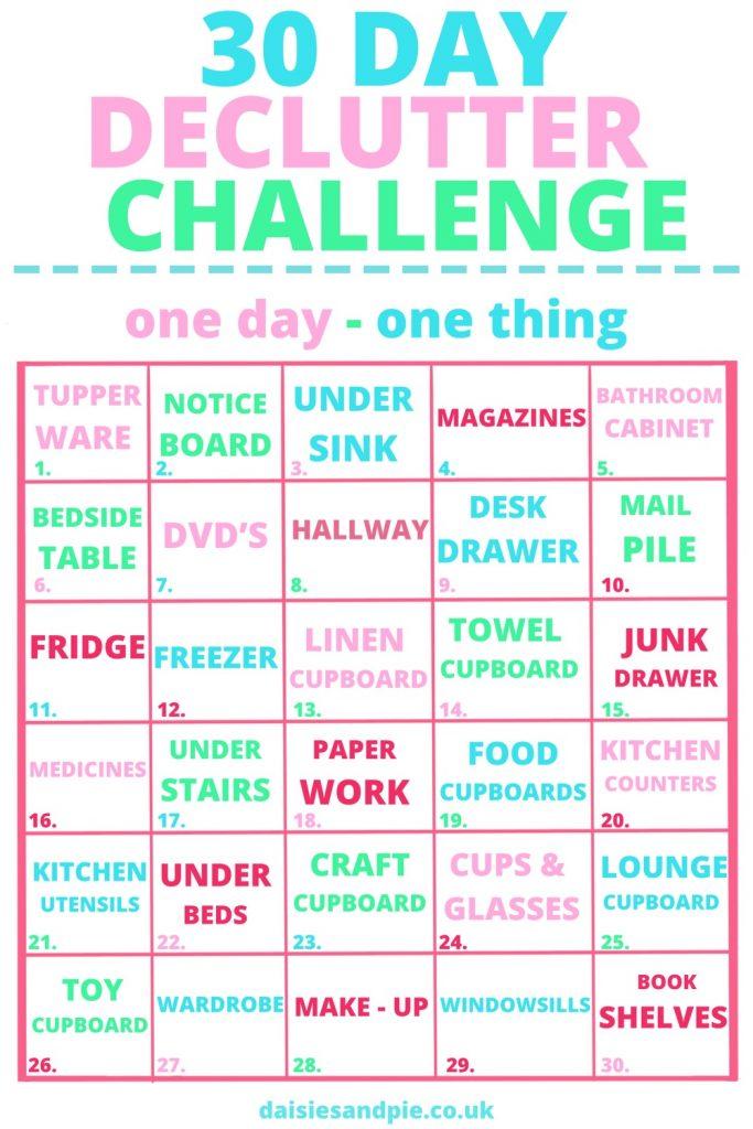 30 day declutter challenge printable housework checklist