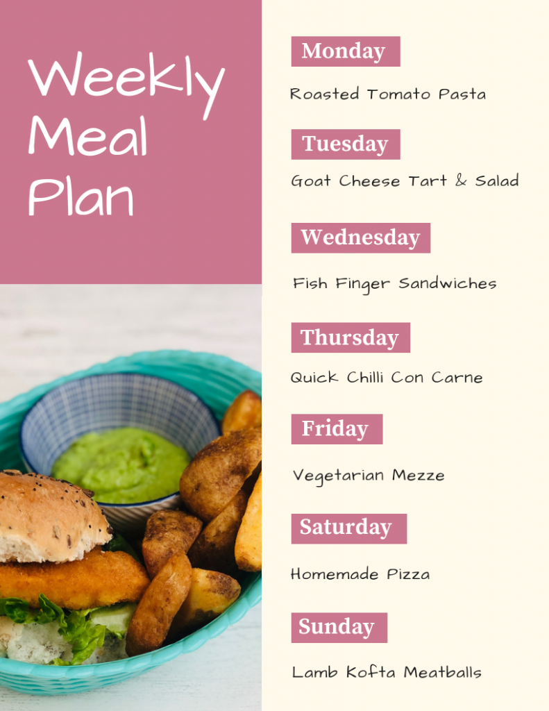 weekly meal plan - monday - roast tomato pasta, Tuesday - goat cheese tart, Wednesday - fish finger sandwiches, Thursday - quick chilli con carne, Friday - vegetarian mezzo, Saturday - homemade pizza, Sunday - lamb kofta meatballs