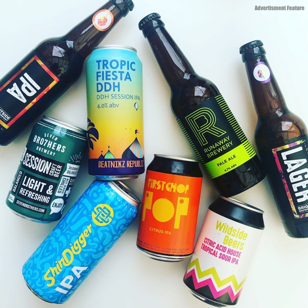 craft beer gift set from Beer Hunters featuring 8 craft beers from Manchester breweries - First Chop, Brightside Brewery, Shindigger, Runway Brewery, Seven Brothers Brewery, Wildside Beers and Beatnikz Republic