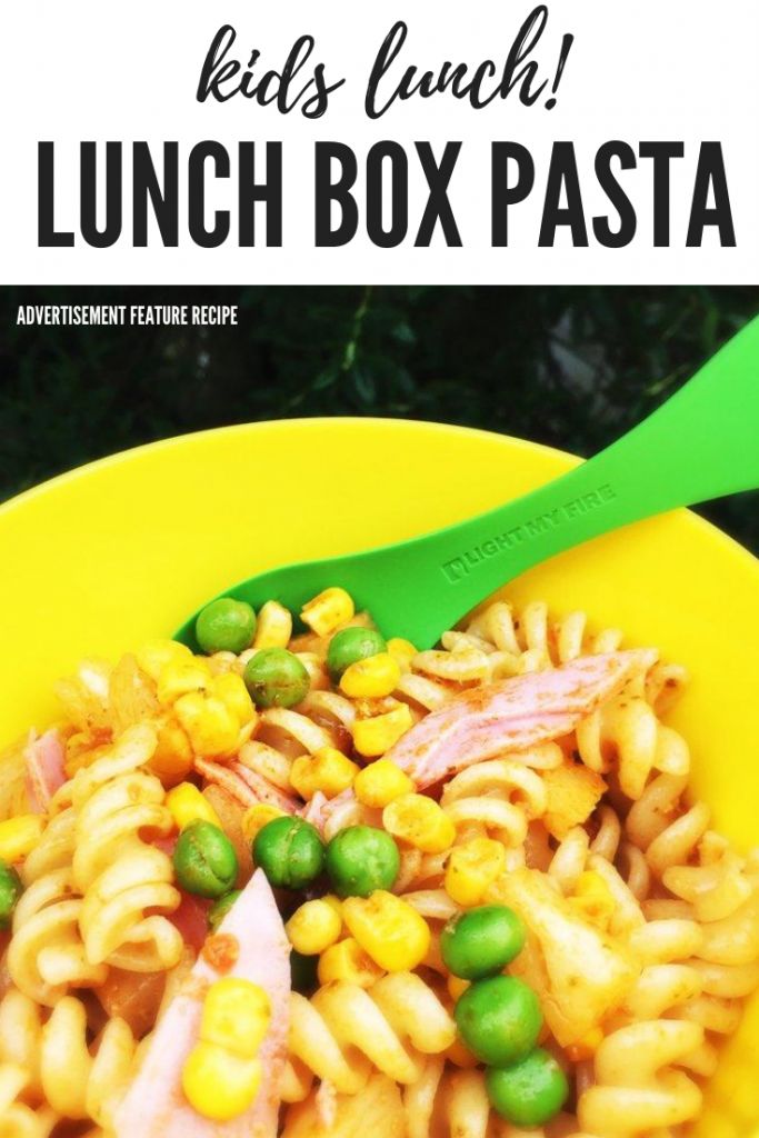 "kids lunch box pasta with pasta, peas, ham, pineapple and sweetcorn. Text overlay ""kids lunch - lunch box pasta"""