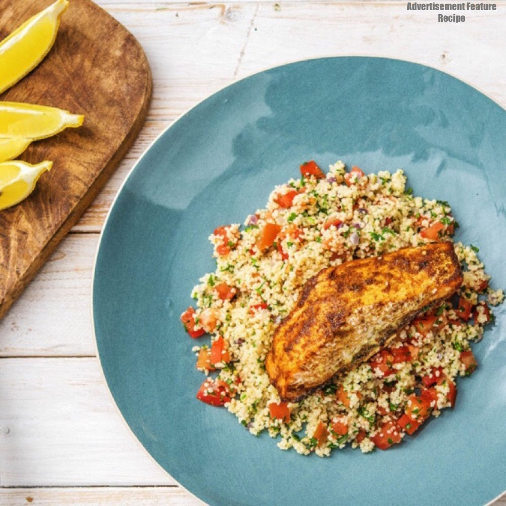 Moroccan spiced salmon on a bed of lemon and onion couscous