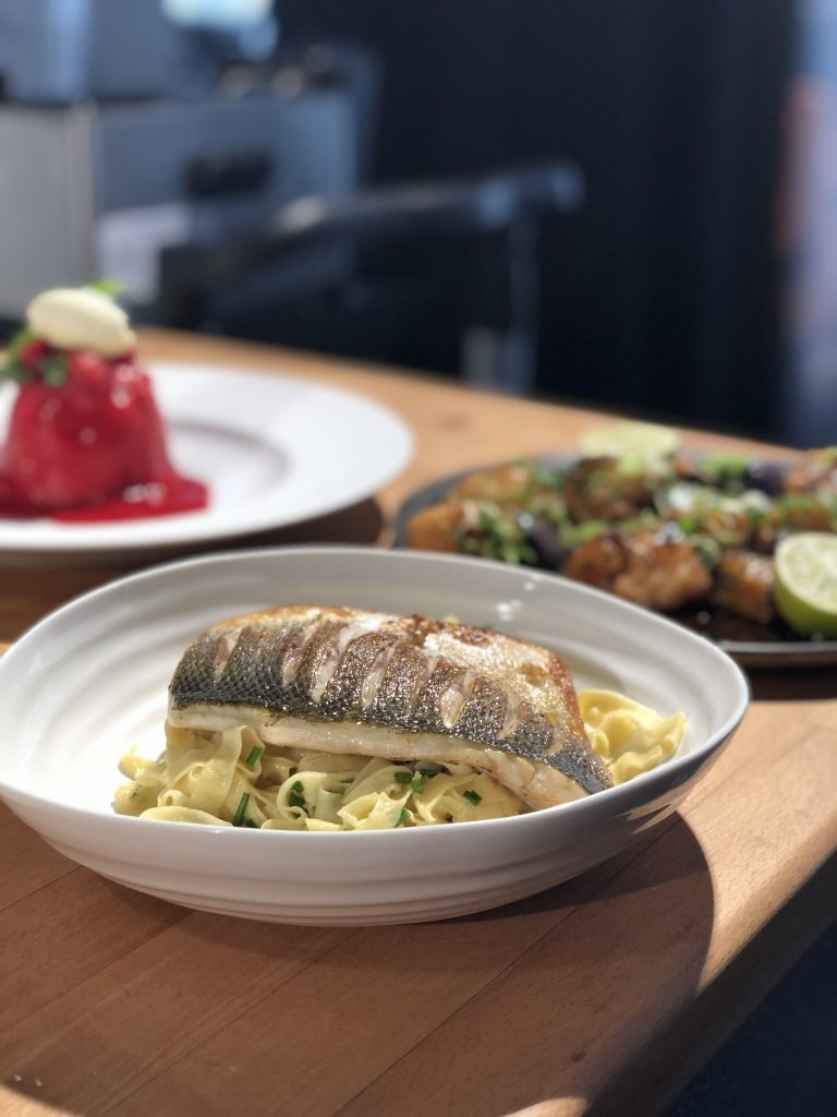 James Martin's fresh tagliatelle with beurre blanc and sizzled seabass at Bolton Food Festival