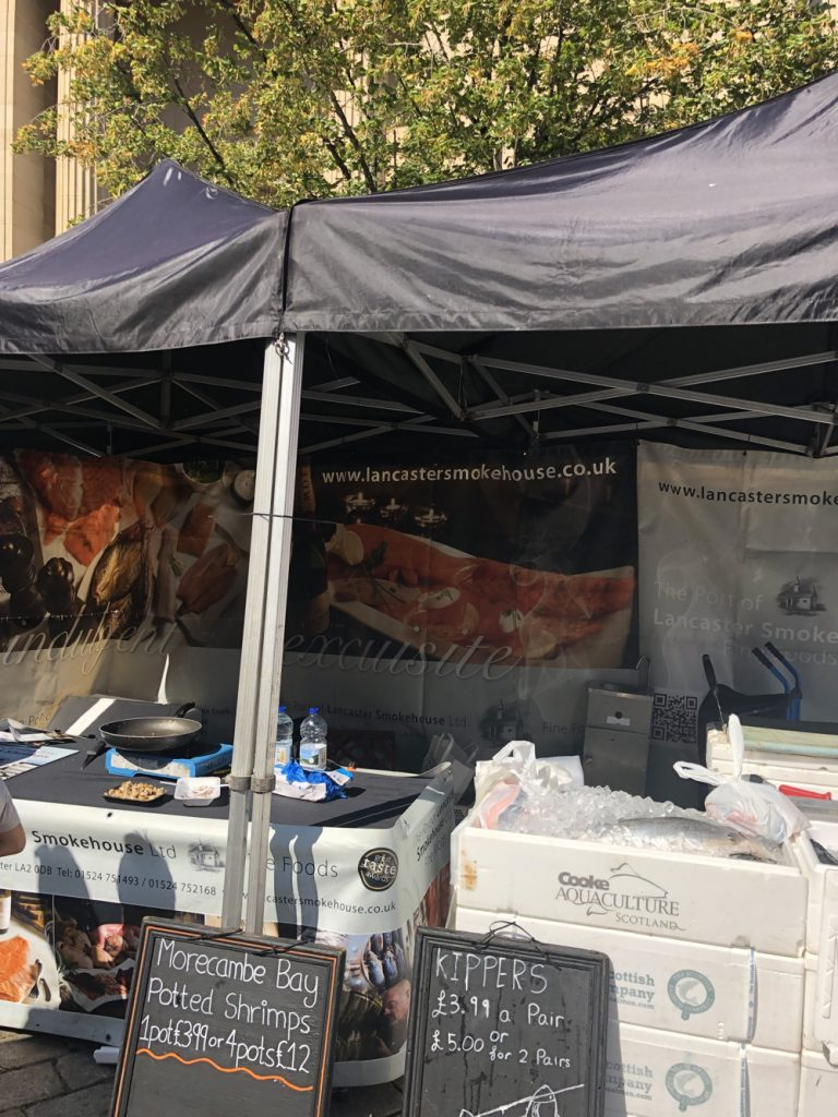 Lancaster Smokehouse selling Morecombe Bay potted shrimp at Bolton Food Festival