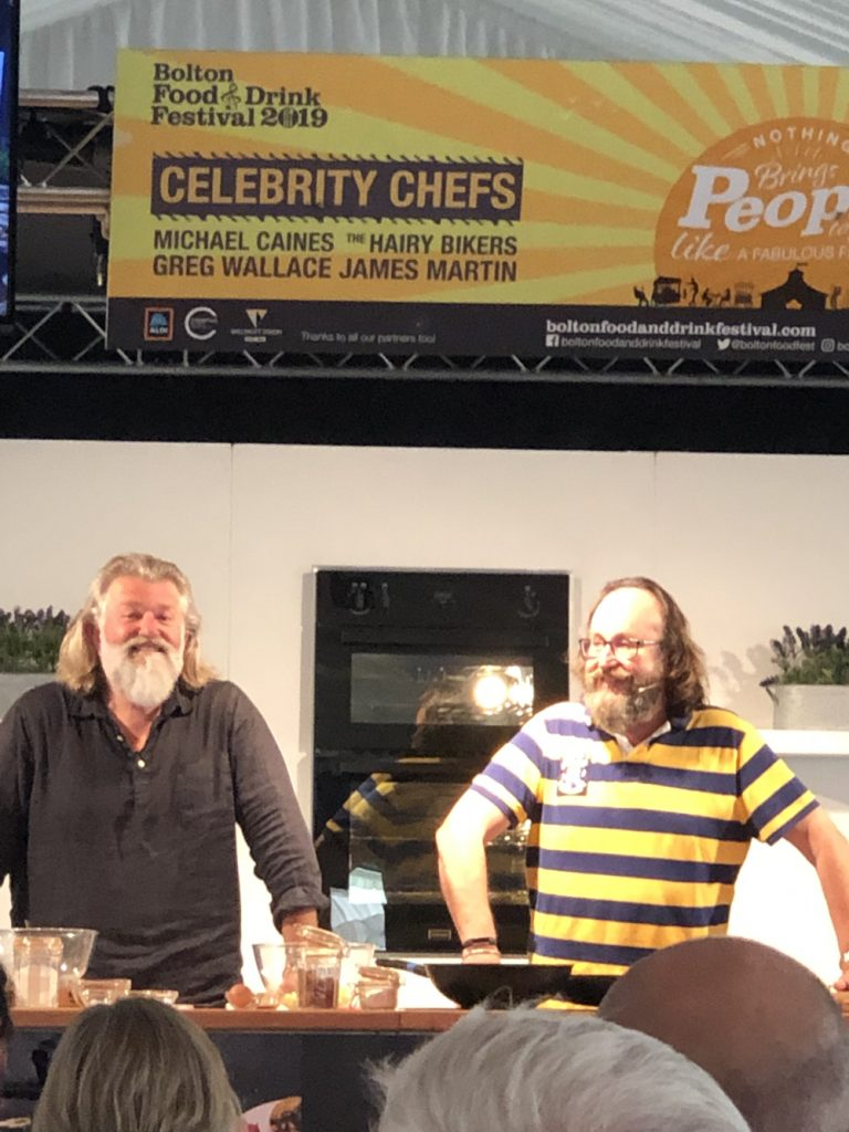 The Hairy Bikers doing a cooking demonstration at Bolton Food Festival