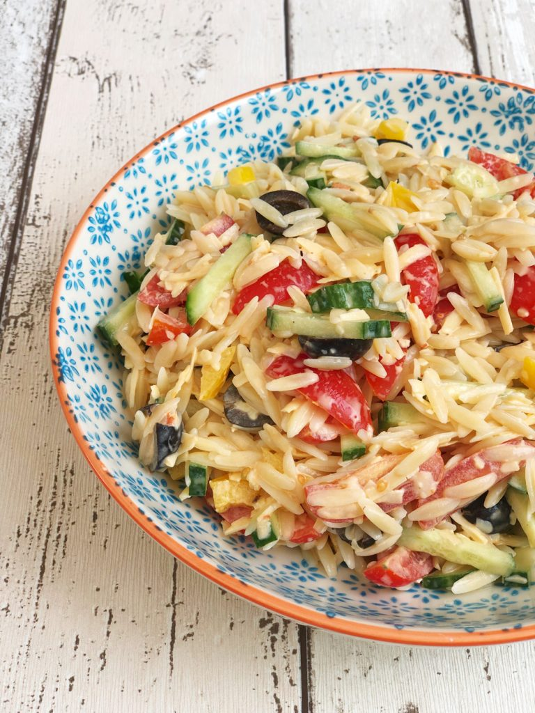pasta salad with cheese and mayo dressing